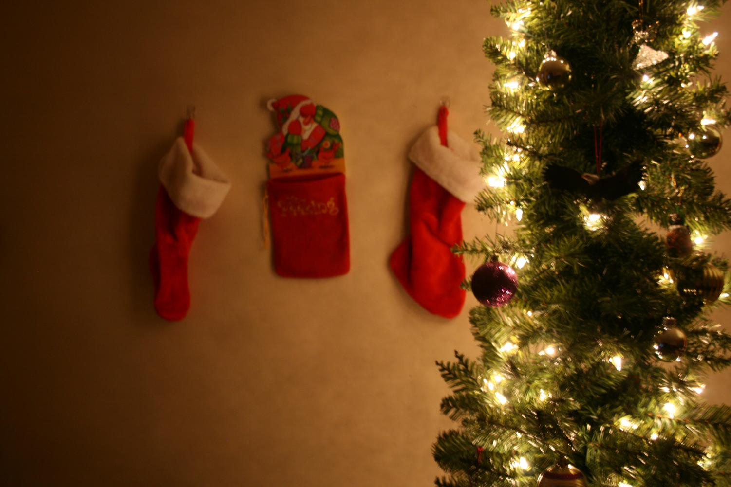 My Christmas tree and stockings that decorate the living room.