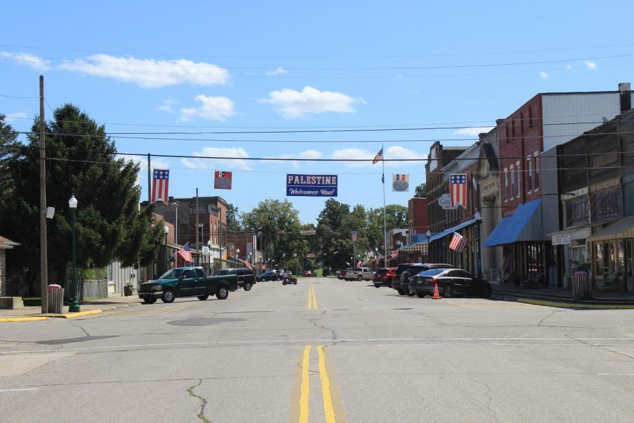 Main Street in Palestine, Illinois is ready for the busy upcoming Labor Day weekend.  Palestine has been home to the Pioneer City Arena PRCA Rodeo for 52 years.
