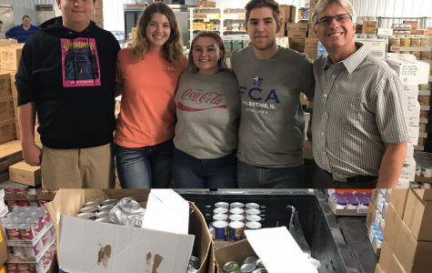 Palestine High School Seniors Deliver Canned Food to the Food Pantry