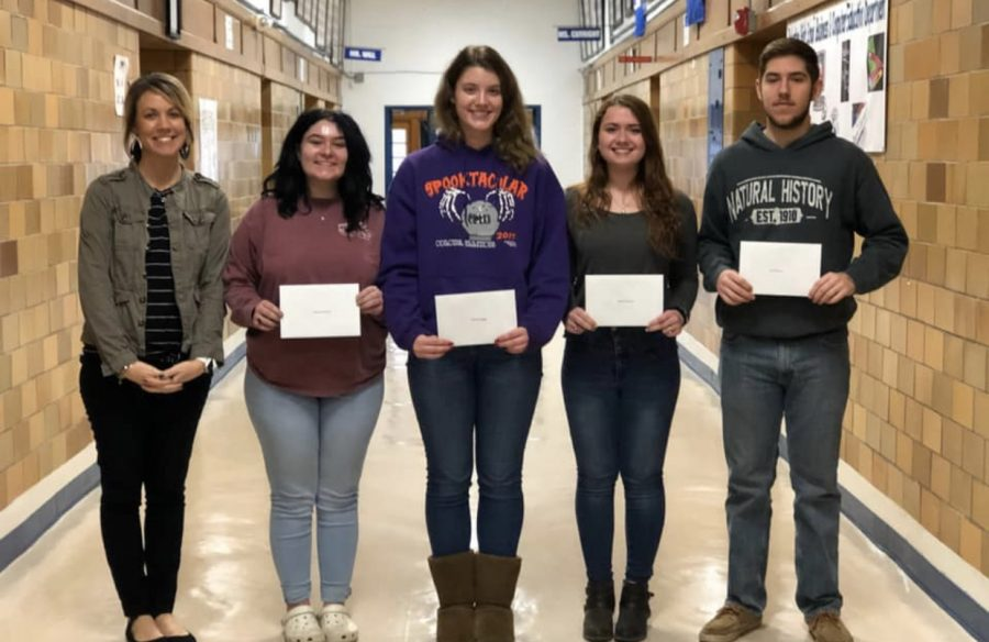 Congratulations! Seniors, Sheltann Waller, Kendra Biggs, Abbey McCord and Seth Bailey hold certificates giving them full rides to LTC. These four have been the top four of their class all four years of High School. Abbey McCord said,