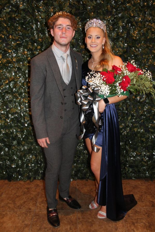King%2C+Gavin+Postlewaite%2C+and+queen%2C+Makinley+Bonesteel%2C+are+posing+for+their+picture+as+new+royalty.+Homecoming+king+and+Queen+are+voted+on+by+all+classes.
