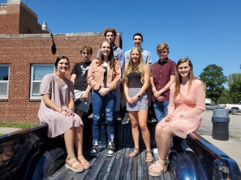 The 2021 Homecoming Court:  (back) Rider Lawhorn, Gavin Postlewaite, Tyler Dennison, Wesley Adams; (front) Halle Piper, Stephanie Rudd, Makinley Bonesteel, Krescene Holscher