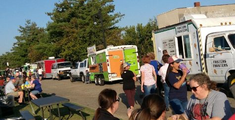 Food trucks lines up along the River Walk feeding hungry visitors