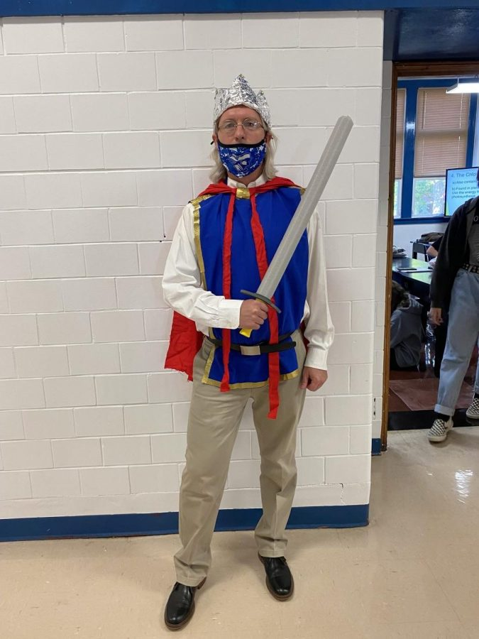 Mr. Smith posing as a night in shining armor on royalty day.  Mr. Smith nailed the look.