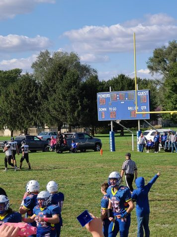 The scoreboard displaying the final score of the game. Graydon Kincaids excitement can also be seen.