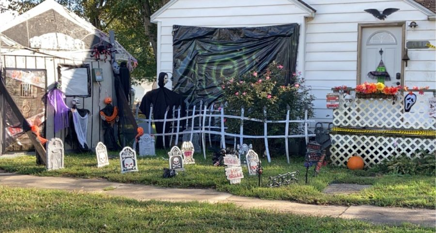 This is one of the houses that decorated for Halloween.