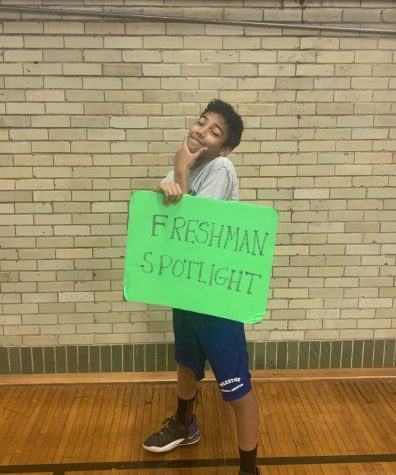 Freshman Gavin is looking super happy as he poses for the spotlight photo!