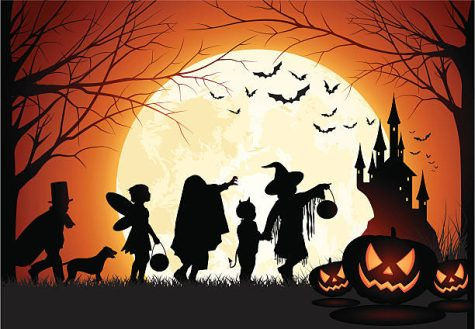Vector illustration of childrens silhouette trick or treat.